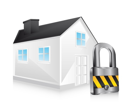 3d safety house over white background.  Vector