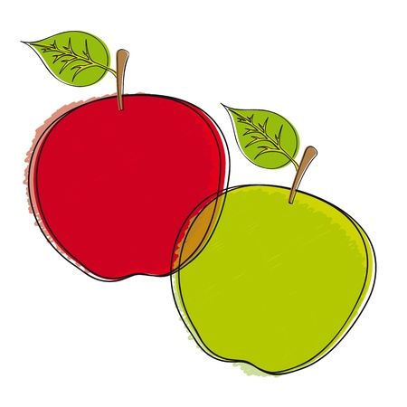 drawing apple isolated over white background. Vector