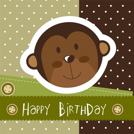 birthday card with cute monkey.  Vector