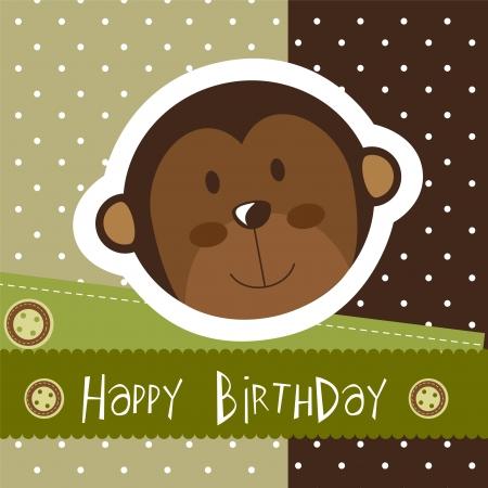 birthday card with cute monkey. Stock Vector - 14038947