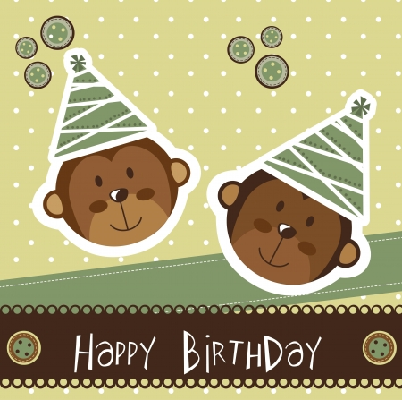 birthday card with cute monkey.  Vector