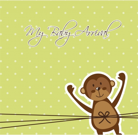 baby arrival card with cute monkey.  Vector