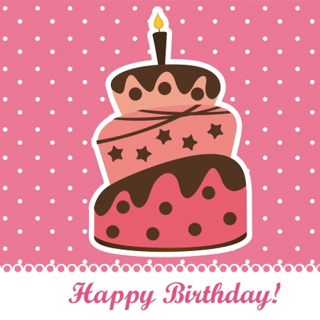 birthday cake over pink background.  Stock Vector - 14038945