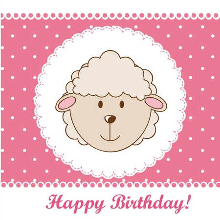 birthday card with cute sheep over pink background.  Vector