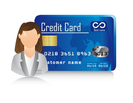 businesswoman with credit cardd over white background. Vector