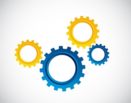 blue and yellow gears over gray background.