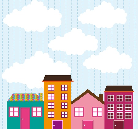 cute houses over sky with clouds.  Vector