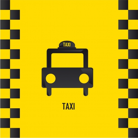 transported: silhouette taxi over yellow background.