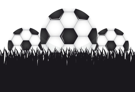 soccer balls over grass background.   Vector