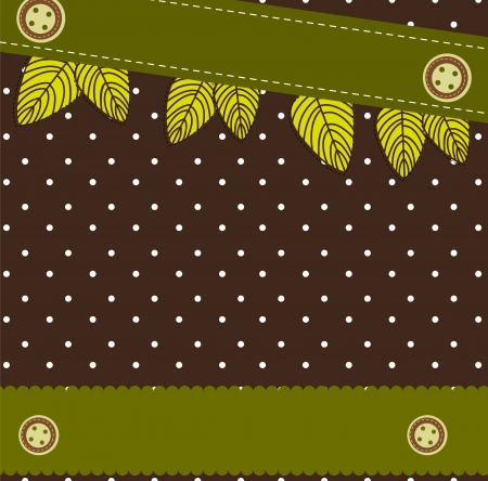 cute background with leaves, scrapbook.  Stock Vector - 14038930