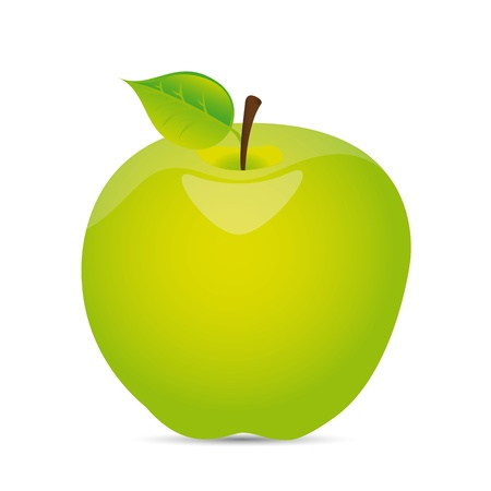 green apple with shadow over white background.