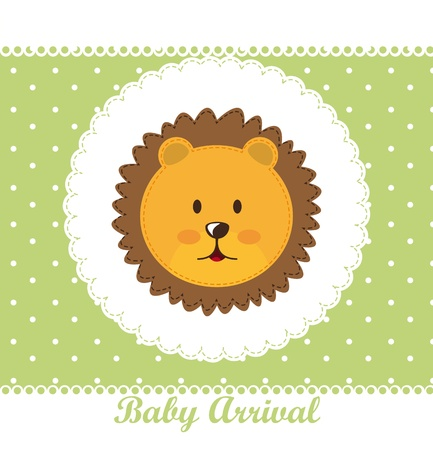baby arrival with face cute lion over green card.  Vector