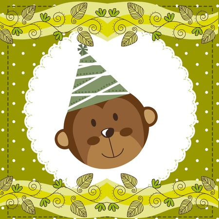 cute face monkey over cute green card.  Vector