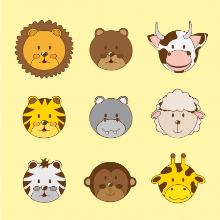 cute faces animals over yellow background.  Vector