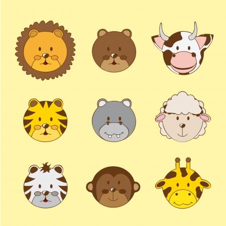 hippopotamus: linda se enfrenta a los animales sobre fondo amarillo.