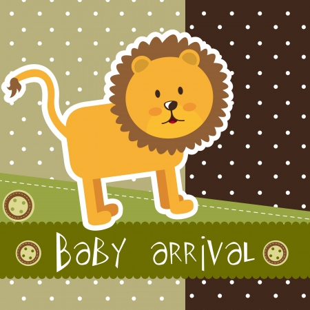 baby arrival with cute lion over scrapbook.  Vector