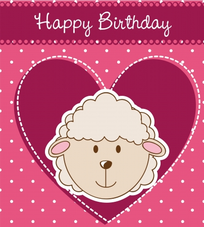 birthday card with cute sheep.  Vector