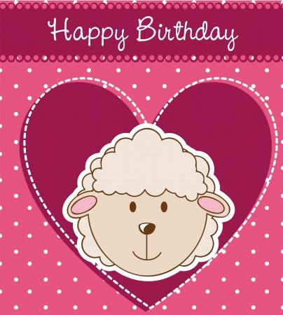 sheep love: birthday card with cute sheep.