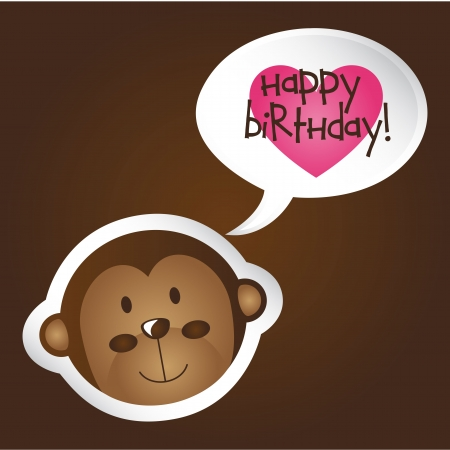 cute face monkey with birthday text.  Vector