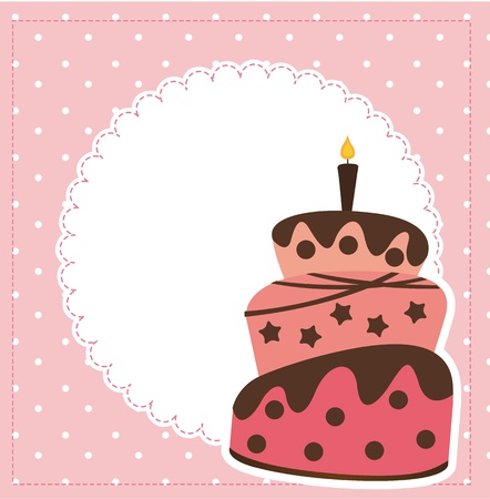 cute cake with spacer for copy over pink background.  Vector