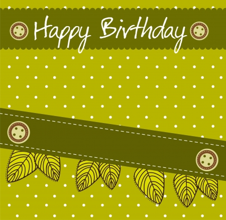 scrapbook birthday with leaves.  Vector