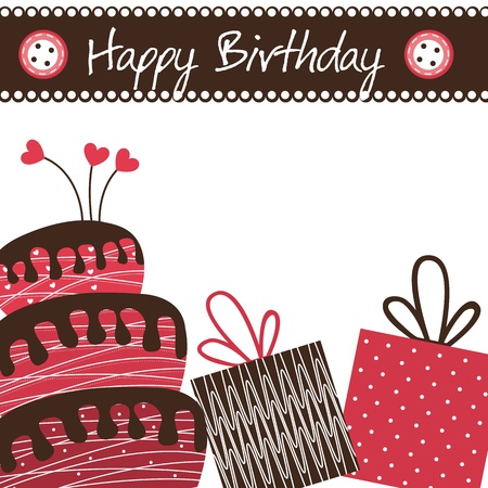 birthday card with cake and gifts.  Vector