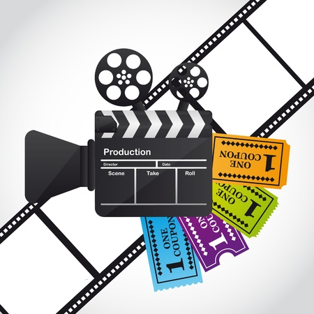 clapper board with tickets over film stripe. Vector