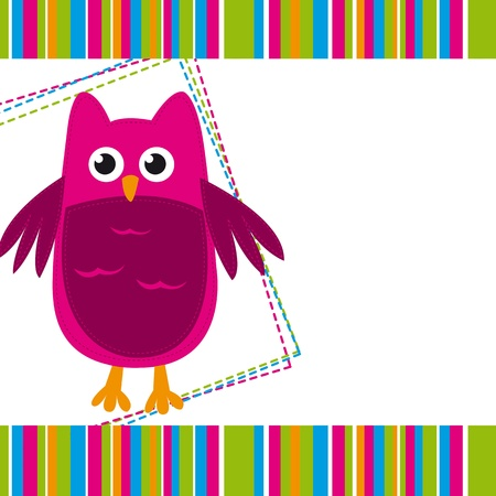 cute pink owl with space for copy. Stock Vector - 14039030