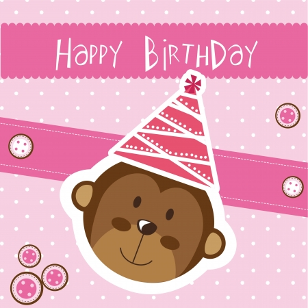 happy birthday card with monkey, pink.  Vector