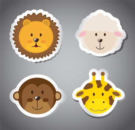 cute faces animals over gray background.  Vector