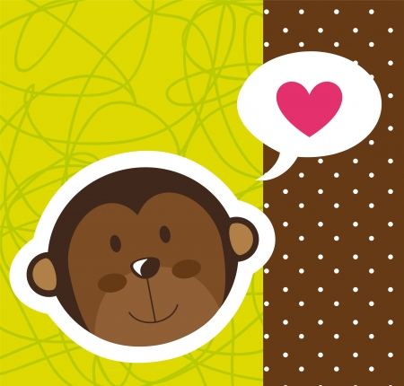 cute monkey face with heart over cute background.  Vector
