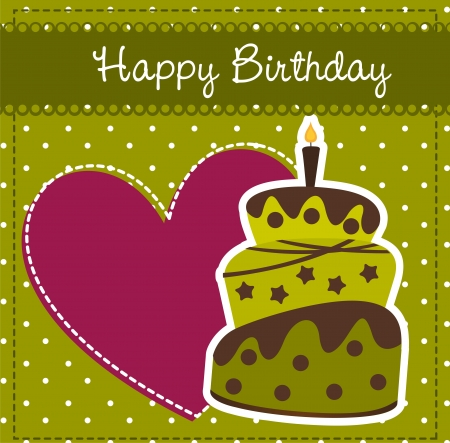 chocolate sprinkles: birthday card with cake and heart. Illustration