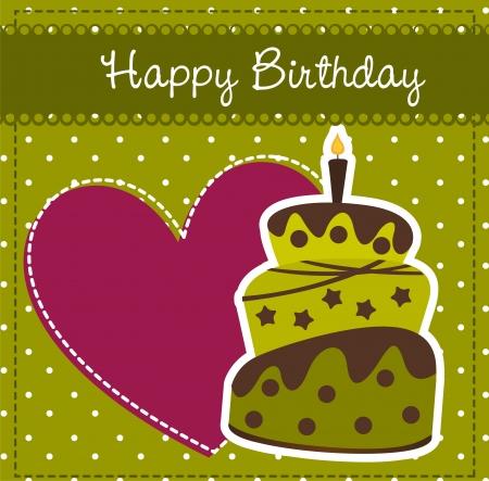 pasteles de cumplea�os: tarjeta de cumplea�os con pastel y el coraz�n.