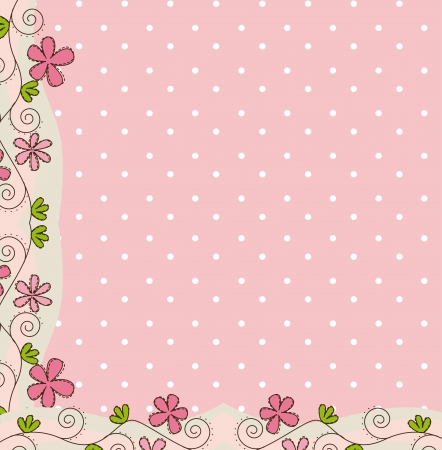 pink cute background with flower.  Vector