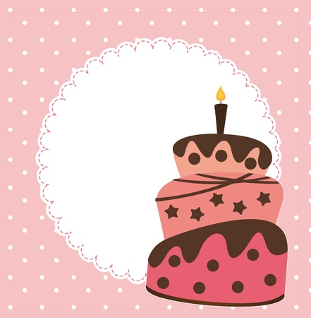 pink card with cake and space for copy.  Vector