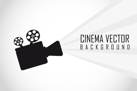 movie screen: silhouette movie projector with space for copy. vector