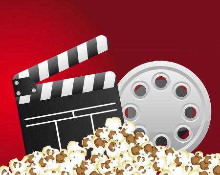 clapper board with film stripe and popcorn. vector illustration Vector