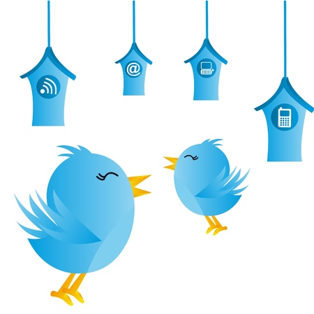 blue bird with houses over white background. vector illustration Vector