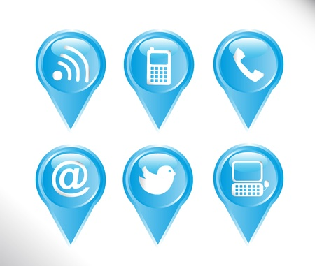 blue communication icons over white background. vector Stock Vector - 14082045