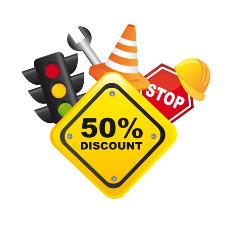traffic sale icons with yellow sign over white background. vector Vector