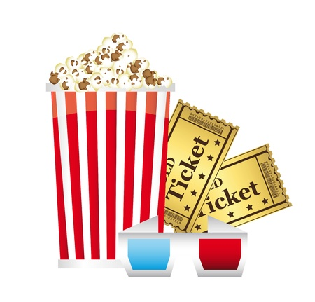 popcorn with 3d glasses and tickets over white background. vector Stock Vector - 14082044