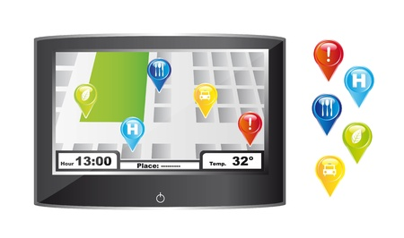 gps with colorful icons over white background. vector illustration Vector