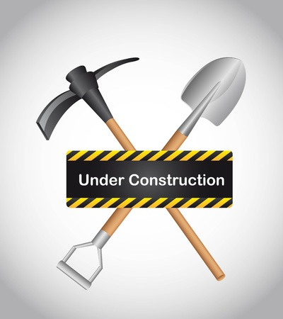 under construction with shovel over gray background. vector Vector