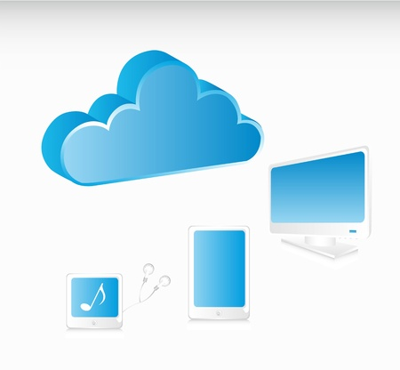 communication elements with cloud. vector illustration Stock Vector - 14082064