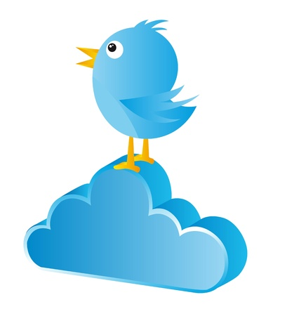 blue bird over cloud isolated over white background. vector Stock Vector - 14074382