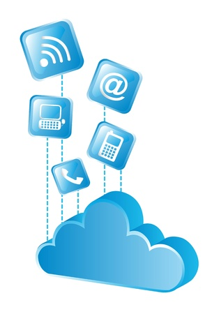 blue cloud with blue icons over white background. vector Stock Vector - 14082039