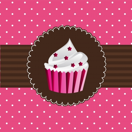 cup cake: cup cake over pink card. vector illustration