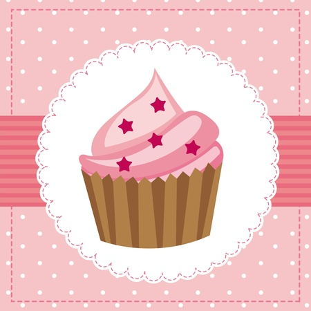layout strawberry: pink birthday card with cup cake. vector illustration