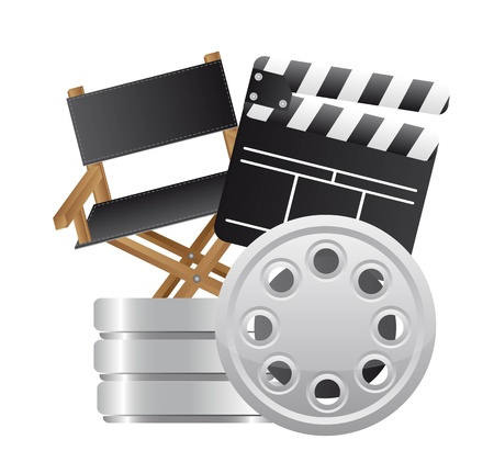 clapper board with director chair and film stripe. vector Vector