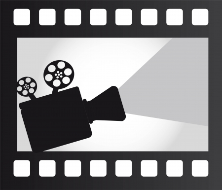 spinning reel: movie projector over film strip. vector illustration